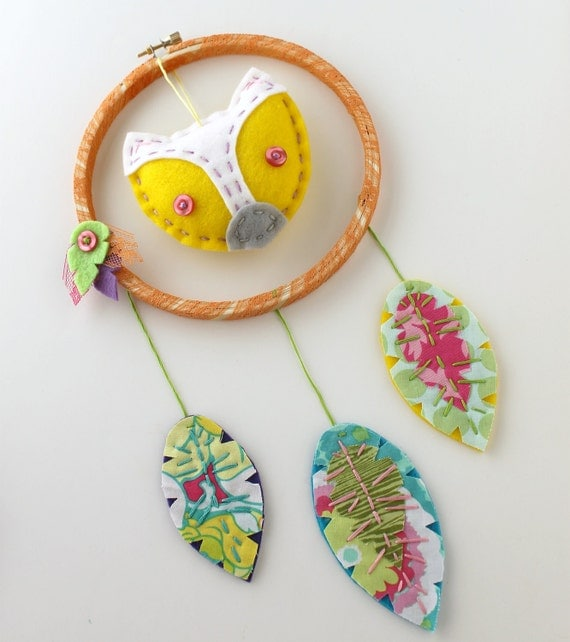 Fox Dreamcatcher Wall Hanging Plush Eco Felt Feathers Hand Embroidery Yellow MADE TO ORDER