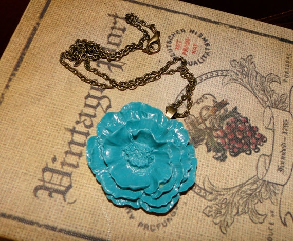 Lagoon Blue Poppy Flower Necklace