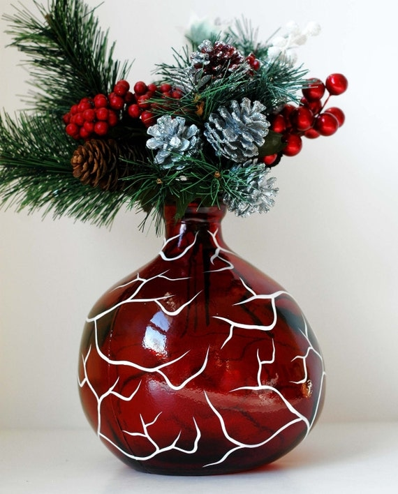 Festive White Tree on Red Glass Vase--Limited Edition