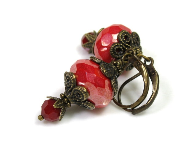 Vintage Style Earrings, Red, Coral, Shimmer, Antiqued Brass, Czech Glass, Swarovski