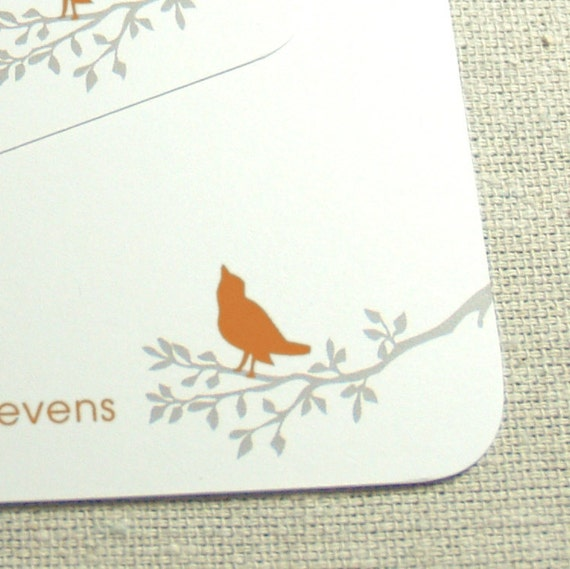 personalized flat note cards stationery set -bird in tree (12) CHOOSE color