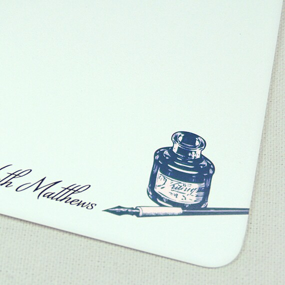 personalized stationery set flat note cards -antique pen and inkwell (12) CHOOSE color