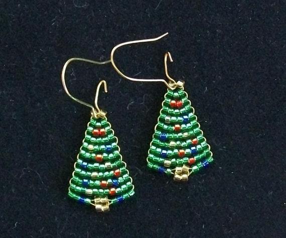 Beaded Christmas Tree Earrings