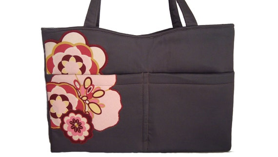 Tote Diaper Bag - Handmade Handbag in charcoal gray with floral applique embellishment