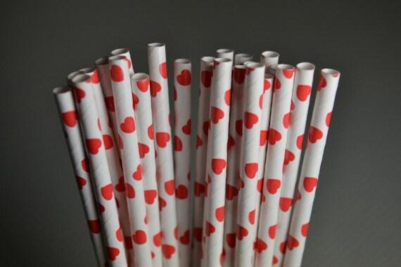 Red Hearts Party Straws - Cake Pop Sticks - Pixie Sticks - Qty 25