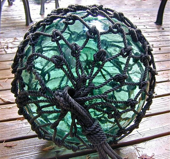 Vintage Glass Fishing Float - 13 Inch Netted TAIWANESE Pie Seal MARKINGS , Nautical, Antique, Home Decor, Glass Ball, Ocean, Sea, Beach