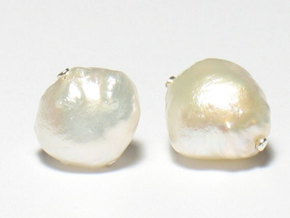 Baroque Pearl Stud Earrings-White
