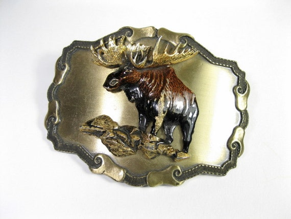 Vintage Belt Buckle, Moose, Raintree Buckle and Jewelry, Inc., 1977