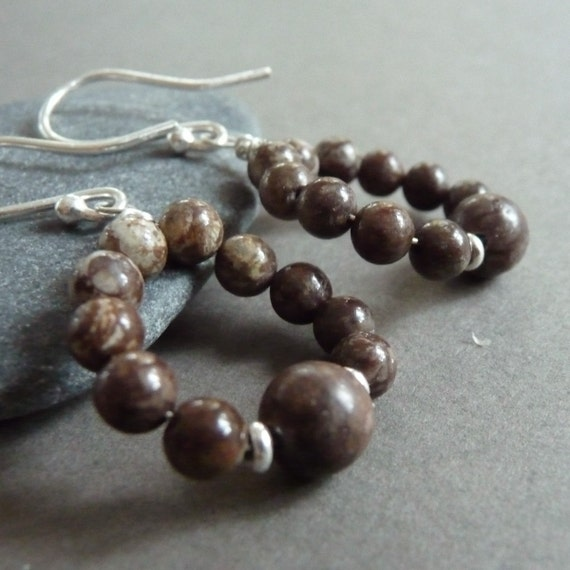 Brown Snowflake Jasper Sterling Silver Hoop Earrings