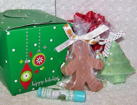 Holiday Cheer Gift Set - Lip Balm, Christmas Tree Soap & Gingerbread Man Soap / Gifts under 10