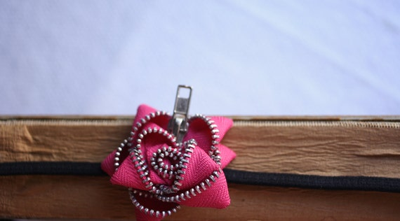 PINK Zipper Flower Headband