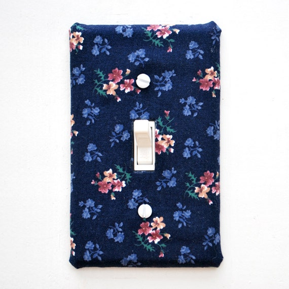 Light Switch Plate Cover - Navy with pink flowers, nature, natural, floral, flower
