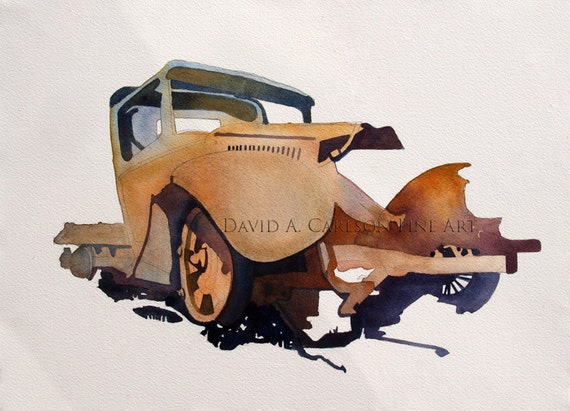 Painting of a Rusted Truck, Watercolor Painting of a truck, Original Painting, Rusted Old Truck, Earth Tones and Colors