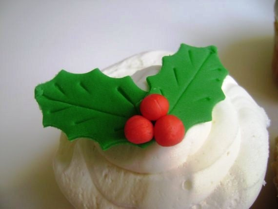 24 Fondant Christmas Holly Cupcake Toppers