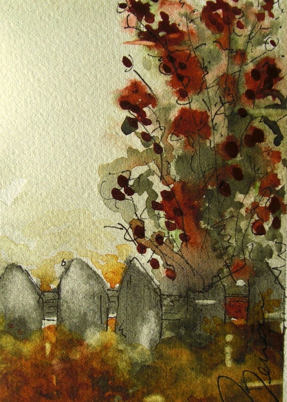 Beyond the Fence Watercolor Painting 4 x 6 Original Art