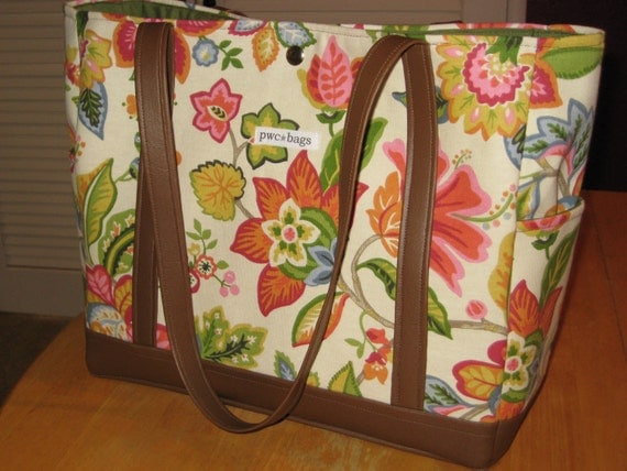 REDUCED Spring Time Garden Floral Bag--Ready to SHIP