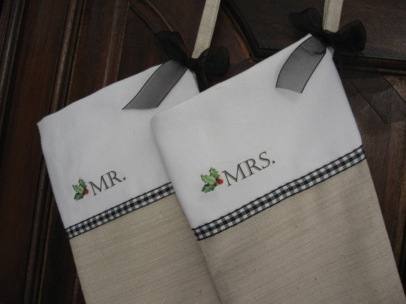 Personalized MR and MRS Christmas Stockings, Custom Christmas Stocking, Holly Leaf - Set of Two