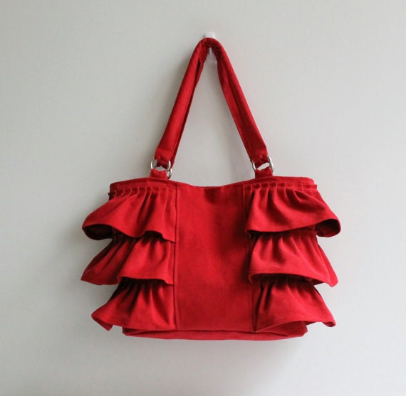 Flamenco in Carmine Red / Canvas Ruffles Bag / High Fashion / Shoulder Bag / Mothers Day / Zipper Closure /Large /Deep Red /ruby /cherry
