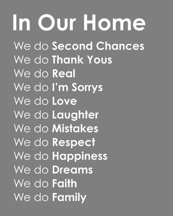 "Subway Art ""In Our Home"" Family Rules Print - 11""x14"""