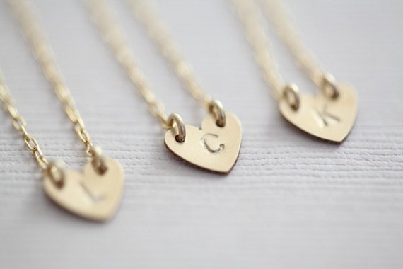 Bridesmaid gift package - 3 gold filled tiny initial heart necklaces (Made to order)
