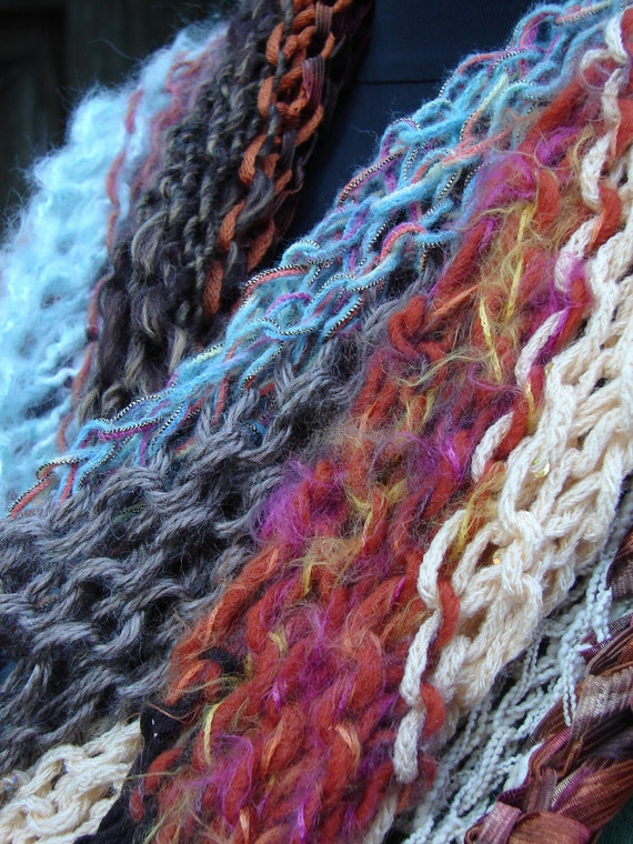 Impressionist Scarf (num. 4) in Autumn Colors with Specialty Yarns Knit in a Diagonal Stripe