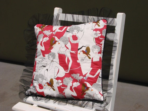 Red ladies cushion cover - 'Armando Caruso' Fabric. Red, white and black with tulle Fringing. Free shipping Australia wide