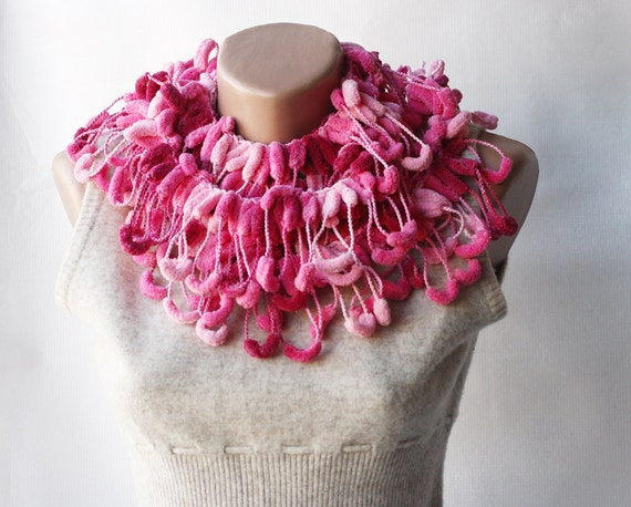 Multicolor crochet scarf - mulberry cocoon pompom variegated pink  pink burgundy winter accessories