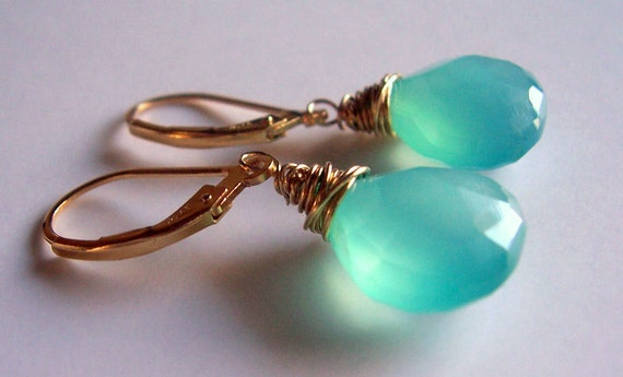 Peruvian blue chalcedony and gold wire wrapped earrings