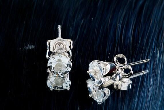 White Topaz Sterling Post Earrings 2 Carat