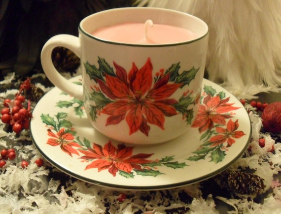 Christmas Candle in Poinsettia Mug