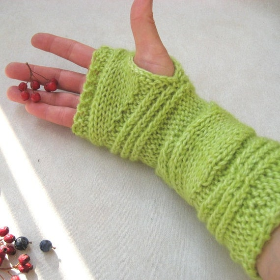 Knit Cable Fingerless Gloves Long Fingerless Mittens Womans Arm warmers Wool blend Apple green Seamless Warm Unique Handmade by Dimana