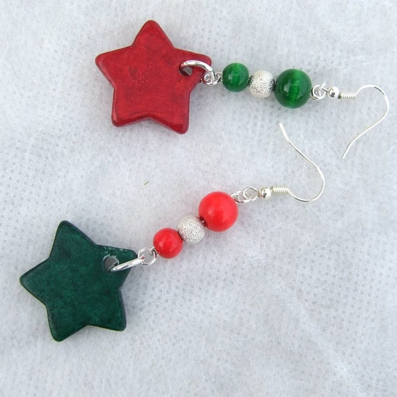 Ceramic stars in red and green, silver balls, dangle earrings
