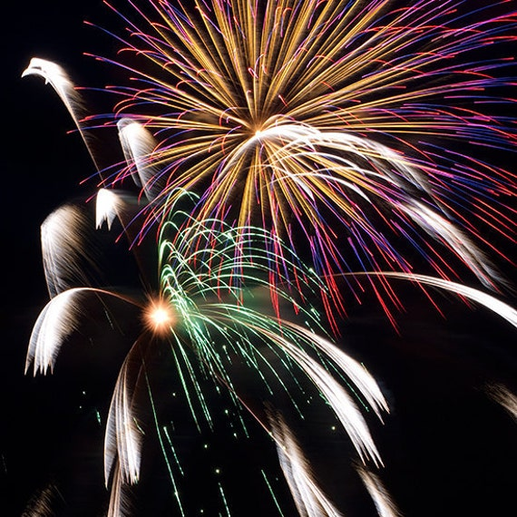 New Years Eve, fireworks photograph - Your choice of ONE 8x8 print - Fireworks II