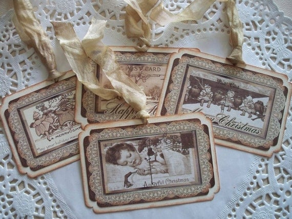 Vintage Christmas Tags - Vintage Vignettes - Set of 4