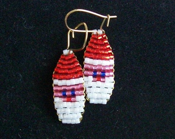 Beaded Santa Earrings