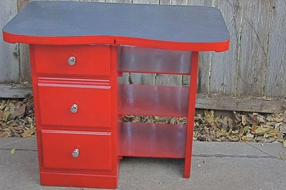 Kids Desk---Cherry Red--Vintage--Chalkboard Top