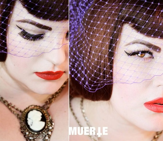 Red Hot French Birdcage veil - Bridal/Pinup/Retro/Boudoir- So many beautiful looks in ONE veil