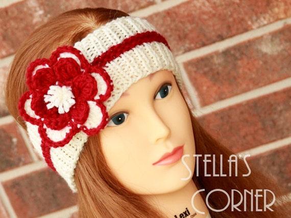 Flower Headband, Knit Headband, Knitted Headband, Crochet Headband, White and Red Flower Headband, Yarn Headband, Ear Warmer