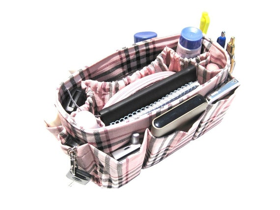 Handmade Gift Purse Organizer Pocket Insert / Pink Plaid / Medium 22x8cm