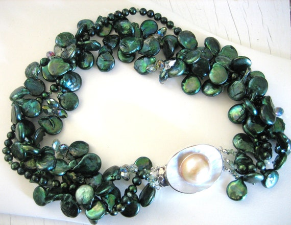 Forest Green PEARLS and Crystals with MABE PEARL Clasp Necklace