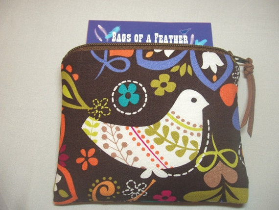 Padded Petite Phone Pouch Coin Purse Change Purse in Espresso Birds of Norway Print