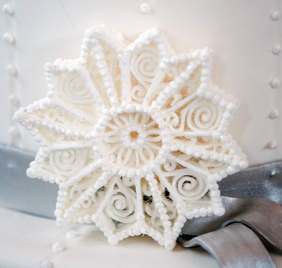 Ornament Snowflake White Glittered UNIQUE SUGAR CRAFT Hand Piped / Weddings / Christmas / Featured in Well Wed Magazine