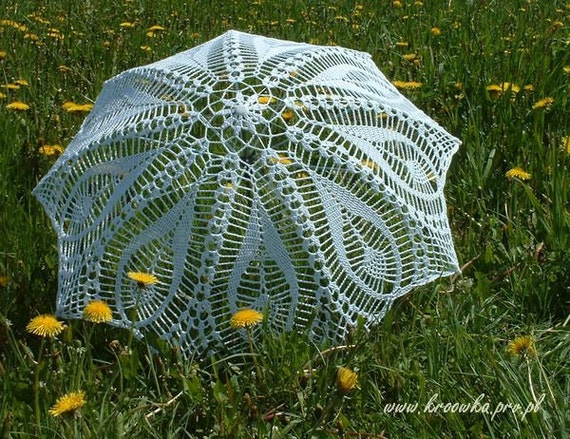 White tulip parasol, crochet lace umbrella, victorian parasol, wedding parasol, Made to order