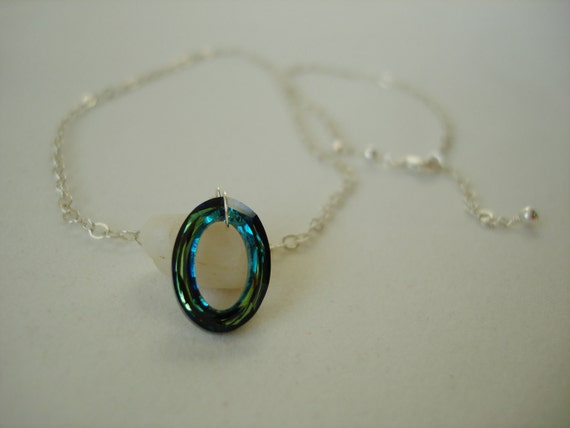 Sterling Silver Swarovski Cosmic Oval Ring Crystal Bermuda Blue Necklace