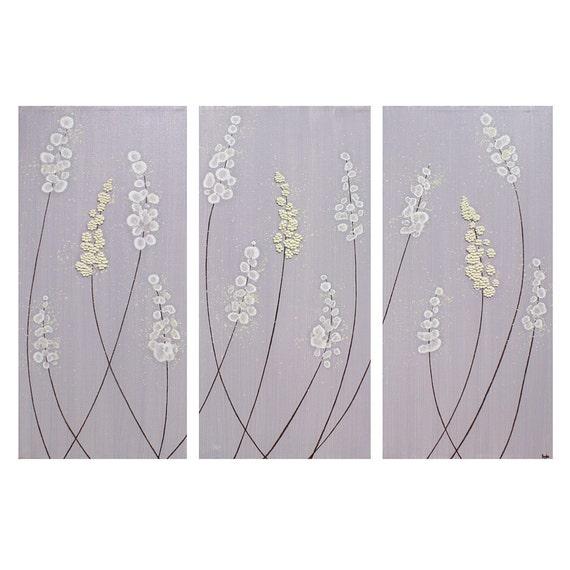 Фиолетовый Живопись Лаванда Цветы - Большой 32X20 Холст Триптих - оригинальную художественную акриловые