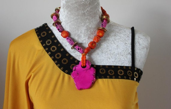 Vibrant Coral Necklace with Fushia Turquoise Nugget Pendant