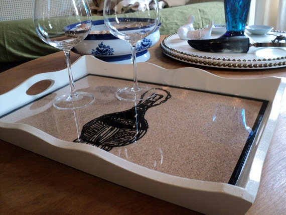 Reverse Glass Painted Wine Bottle Tray