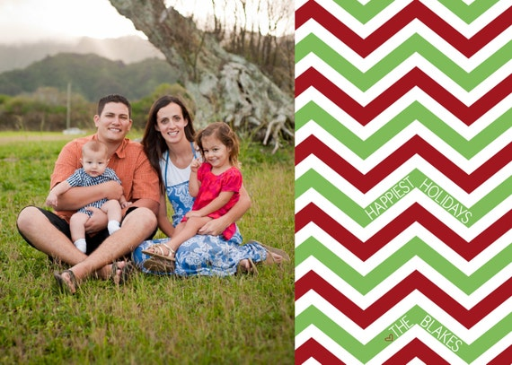 Chevron Christmas Photo Card - Christmas With a Side of Chevron