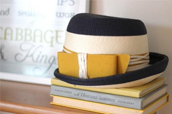 Vintage Hat - Navy Blue and Mustard Yellow - Vintage Chic  - Women's Vintage Hat - Elegant Vintage Fashion
