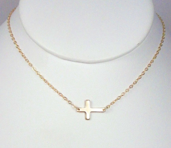 As seen on JLo-TINY Gold Filled POLISHED Sideways Cross, Miley Cyrus,  Necklace Taylor Jacobson Celebrity Inspired